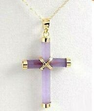 Exquisite Purple Jade Cross Pendant & Necklace