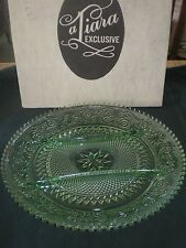 "Tiara Indiana Glass Chantilly Green Sandwich Glass 12""  Relish Tray, Plate MIB"