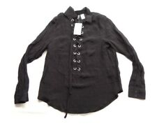 New H&M Womens Black Blouse Weave Narrow Collar Deep V-neck lacing Size 6