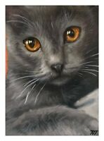 ACEO Original Miniature Gray Cat Kitten Acrylic Painting Art Card Miniature