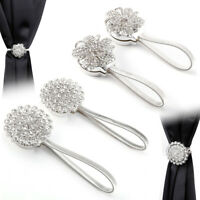 2 Exquisite Crystal Curtain Tieback Clip Magnetic Curtain Buckle Tie Back Hanger