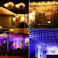 8 Modes 13ft LED String Curtain Icicle Fairy Light Outdoor For Wedding Party DIY