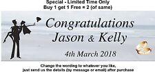 Personalised Wedding Engagement Banner - BEACH THEME, GOLD RINGS - BRIDE & GROOM