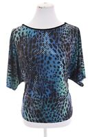 Clara Sun Woo Sz M Blue Leopard Colorful Slinky Dolman Sleeve Blouse Top Womens
