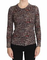NEW $1100 DOLCE & GABBANA Cardigan Sweater Brown Wool Crewneck Top IT38 / US4/XS