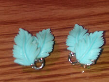 Vintage Rare Pastel Blue Thermoset Double Feather Leaf Earrings Signed Lisner
