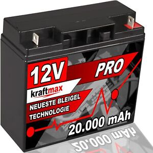 12 Volt kraftmax AGM Bleiakku 12V 20Ah Blei Akku Batterie - Neuste Generation