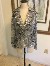 Jones New York Collection Grey Blouse With Ruffle Neckline Size 14