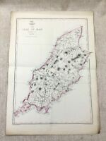 Antique Map Isle of Man  England 19th Century Old Hand Coloured