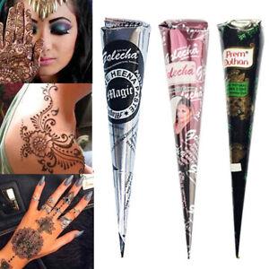 Natural Henna Tattoo Ink Brown Mehndi Paste Cones Body Art Sticker Mehndi Paint