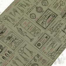 """Cotton Fabric per FQ Medium Weight """"Linen Look"""" Retro Mannequin Sewing Tools M19"""
