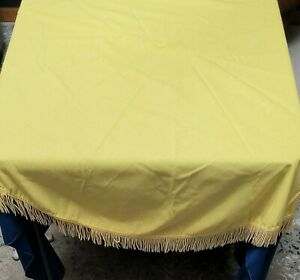 """Vintage Yellow Fringe Cloth Fabric Tablecloth Apprx 60"""" Round"""