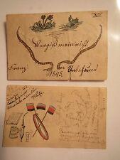 2x kleines Stammbuch-Blatt - 1845-1850 - Weinkneipe Vergißmeinnicht / Studentika