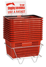 """Set of 12 Red Shopping Baskets With Stand Plastic Retail Merchandise 12"""" x 17"""""""