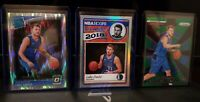 Luka Doncic Rookie Card Lot 3 Cards!!! Optic Shock, Hoops Silver Holo, Phenom!!!