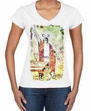 The Magician Tarot Card Large Print Women's V Neck T-Shirt - Pagan Wicca Crowley