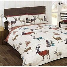 Stag Tree Plaid Check Red Cream Double Cotton Blend Reversible Duvet Cover