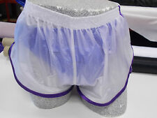 Retro Ultra Sheer Ripstop Nylon Sprinter Shorts S - 4XL, Purple Trim