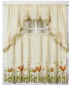 new cafe curtain farm chicken 3  piece ruffle country ready to hang rod pocket