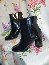 New Look Wide Fit Black Patent Ankle Boots Round Heel Size 5