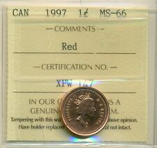 1997 Canada Small Cent Certified ICCS MS-66