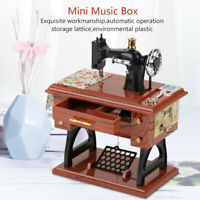 Vintage Music Box Mini Sewing Machine Style Mechanical Gift Table Decoration