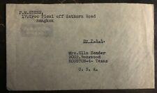 1950s Bangkok Thailand Airmail Cover To Houston Tx USA