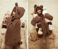 Winter Warm Women Loose Bear Rabbit Ears Hoodie Hooded Jacket Outerwear Coat B_S
