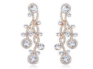 Austrian Yellow Bridal Wedding Engagement Crystal Golden Earrings 6ER0024