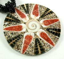 CONE SHELL, SHIVA EYE  & RED CORAL necklace; FA206