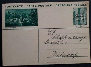 """1932 Switzerland """"Bellinzona"""" 10c stamped Postcard cancelled Maur"""