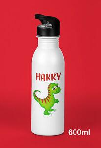 Kids Personalised Water Drink Bottle Dinosaur Boy Child Birthday Christmas Gift