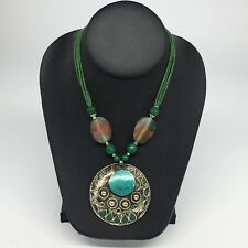 Inlay Beaded Pendant Necklace Vs Turkmen Necklace Afghan Ethnic Tribal Turquoise