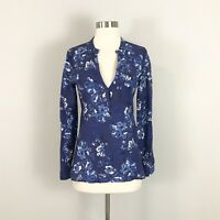 Zara Womans XS Blouse Top Blue Floral V-Neck Long Sleeve