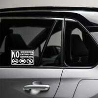 NO SMOKING FOOD OR DRINK Decal Sticker Sign Door Windows Car Driver Bumper Cool
