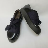 AGL Womens Shoes Lace Bow Patent Leather Platform Blue Italy Size US 8 EU 37.5