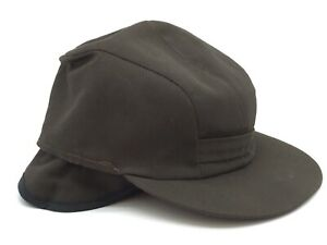 Vintage Union Made Brown Fishing Hunting Hat Insulated Safety Ear Flaps Size 7