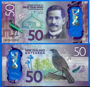 New Zealand 50 Dollars 2016 Prefix BU Bird Animal Banknote Polymer FREE Ship Wld