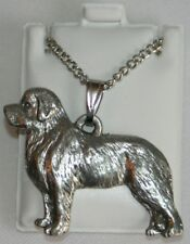 Newfoundland Dog Harris Fine Pewter Pendant w Chain Necklace Usa Made