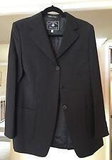 NEW Womens Sz 8/44 Faconnable  Tailleur 3 Btn 2 Vent Italy Black Blazer Jacket