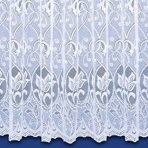 Zoe Jacquard Net Curtain In White - Sold By The Metre - Free Postage