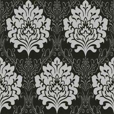 Gris Noir Damassé De Luxe Texturé En Relief Métallique Papier Peint Épais Lourds 2323