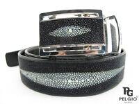 "PELGIO Real Genuine Stingray Skin Leather 1 Diamond Men's Belt 46"" Long  Black"