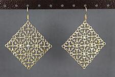 dangle earrings gold cutout filigree Big Huge medallion moroccan disc 2 5/8 long