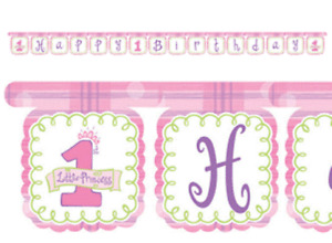 Girls 1st Birthday 'Little Princess' Happy Birthday JOINTED BANNER