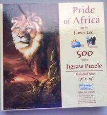 """Pride of Africa art james Lee 500 Piece Jigsaw Puzzle 15"""" X 29"""" by SunsOut new"""