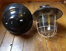 OLD  INDUSTRIAL / FACTORY PENDANT BLACK ENAMEL LIGHT  LAMP