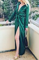 Pretty Little Thing Emerald Green Twist Front Maxi Shirt Dress BNWT Size 8 Small