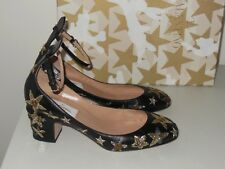 VALENTINO BLACK STAR-STUDDED LOW-HEEL ANKLE STRAP PUMPS SIZE 36.5