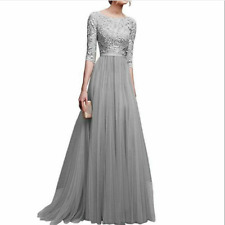 Women Ball Prom Gown Long Cocktail Dress Formal Wedding Bridesmaid Gray L